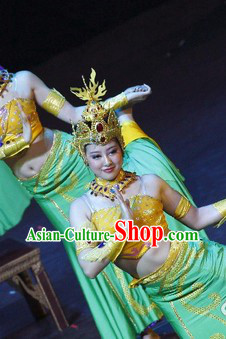 Chinese Classical Dancing Costumes and Headdress Complete Set