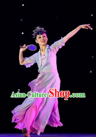 Beautiful China Classical Dancing Costumes and Headwear - Dian Jiang Chun