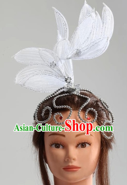 Traditional Chinese White Classical Dance Headpiece