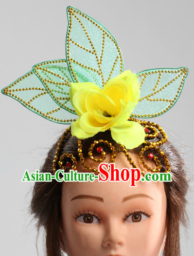 Traditional Chinese Green Leaf Folk Dance Headpiece