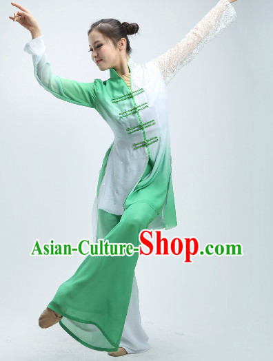 Mandarin Green and White Classical Dancing Outfit for Women