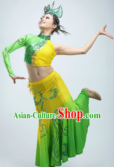 Elastic Dai Ethnic Dance Garment and Headwear for Women or Kids