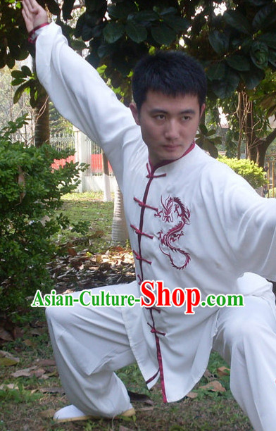 Kung Fu Practice White Blouse and Pants with Red Dragon