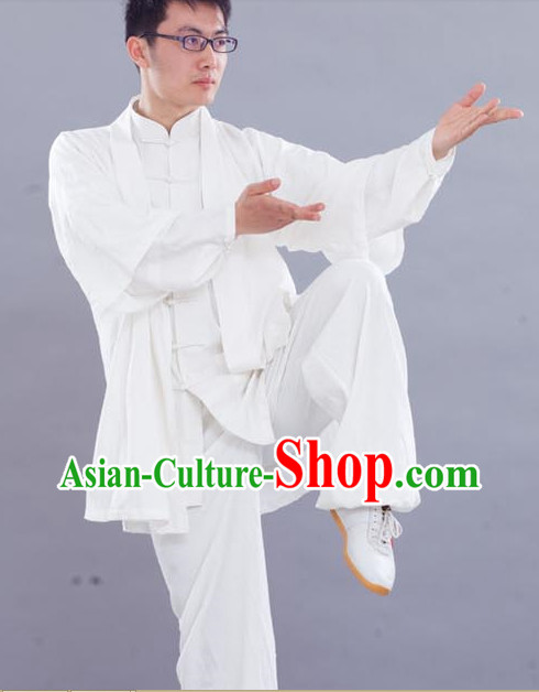 Traditional Chinese White Kung Fu Silk Outfit with Vest
