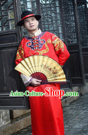 Happy Bridegroom Red Wedding Outfit and Hat