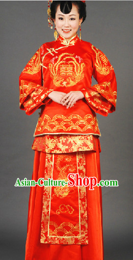 Stunning Handmade Red Xi Phoenix Wedding Garment