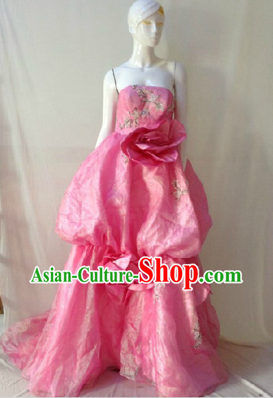 Pink Flower Evening Dress for Stage Performance