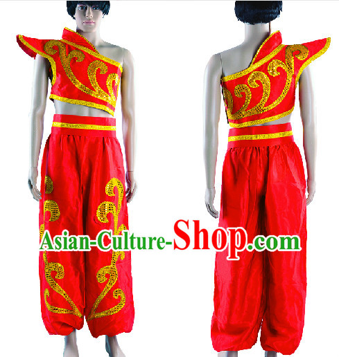 Professional Stage Performance Drum Player Red Costumes