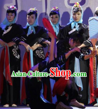 National Minority Black Group Dancing Costumes for Women
