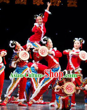 Stage Performance Hands Drum Dancing Costumes for Women or Kids