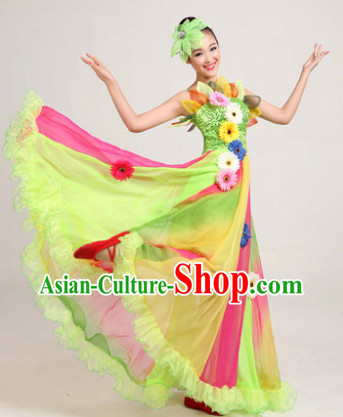 Professional Festival Performace Dancing Costumes and Headdress Complete Set for Women