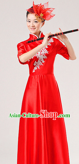 Traditional Bamboo Flute Mandarin Collar Stage Performance Dresses