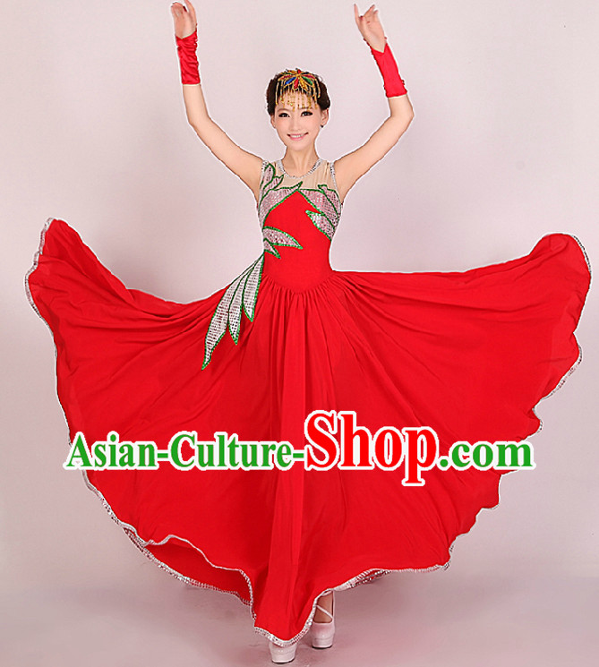 Traditional Chinese Red Opening Festival Celebration Dance Skirt