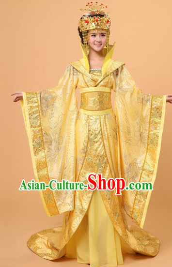 High Collar Long Tail Ancient Chinese Film and Video Empress Garment and Headwear
