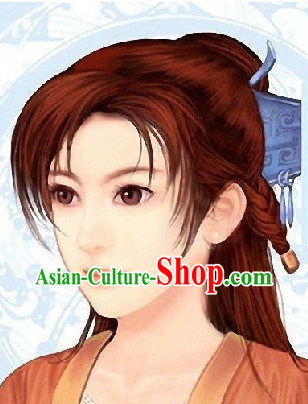 Ancient Chinese Style Red Female Knight Wig for Women