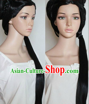 Ancient Chinese Style Cosplay Long Black Wig for Women