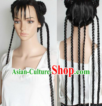 Chinese Cosplay Black Long Plait Wig
