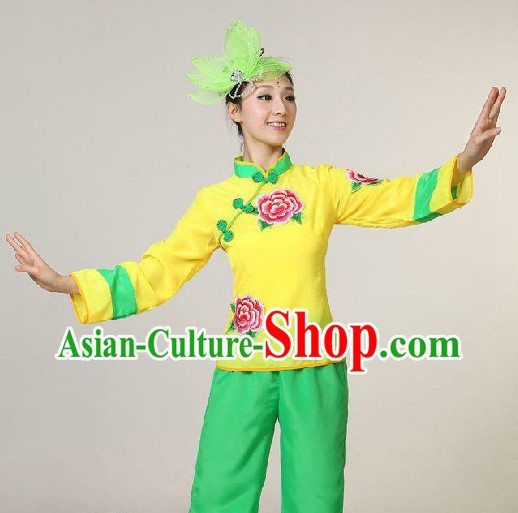 Chinese Folk Yangge Dancing Blouse and Trousers for Girls