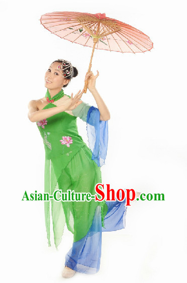 Ancient Chinese Green Snake Umbrella Dance Costumes and Headwear Complete Set