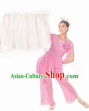 Ancient Chinese Snow Plum Blossom Dance Clothing and Headdress