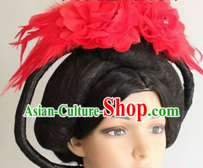 Ancient Chinese Long Empress Wig and Headwear for Women