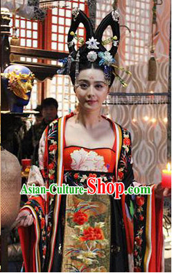 Tang Dynasty Wu Ze Tian Female Emperor Clothing, Wig and Hair Accessories Complete Set