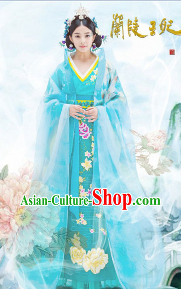 Ancient Chinese Lanling Princess Clothing and Headdress Complete Set