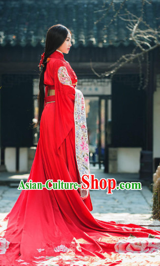 Ancient Chinese Princess Red Wedding Costumes Complete Set