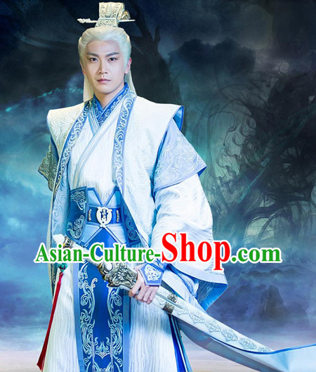Legend of Ancient Sword White Kung Fu Master Outfit Complete Set