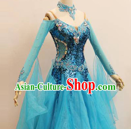 Professional Top Custom Make Blue Ballroom Dancing Costume