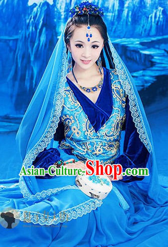 Ancient Chinese Ethnic Dance Costumes and Headwear Complete Set