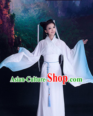 Ancient Chinese Fairy White to Blue Color Transition Hanfu Clothes for Women