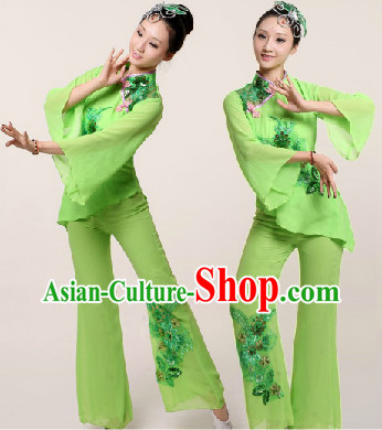 Traditional Chinese Green Fan Dancing Suit Complete Set
