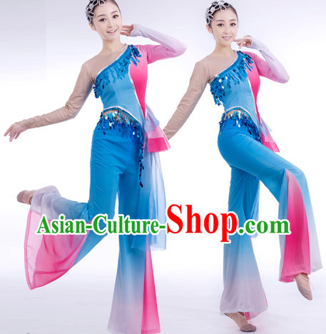 Traditional Chinese Blue Ribbon Dancing Suit Complete Set for Women