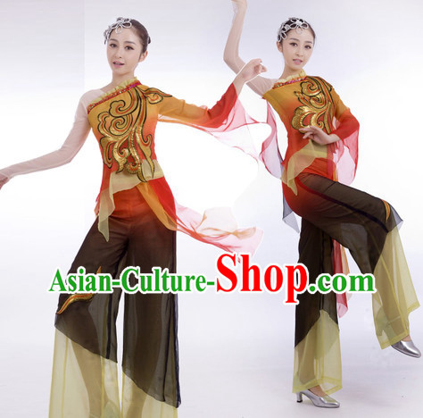 Traditional Chinese Stage Performance Classical Dancing Dresses and Hair Accessories