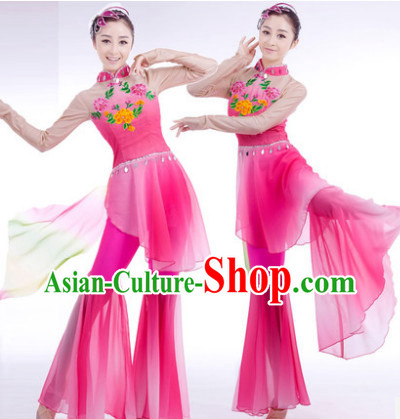 Traditional Chinese Wide Leggings Pink Dancing Garment and Hair Accessories