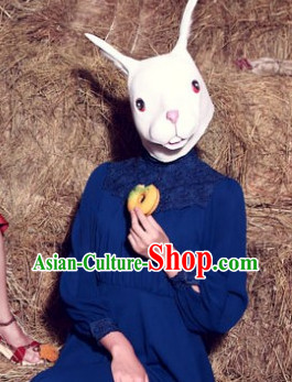 Stage Performance White Rabbit Head Mask