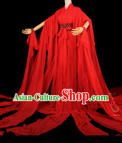 Ancient Chinese Red Classical Wedding Clothes Complete Set for Women