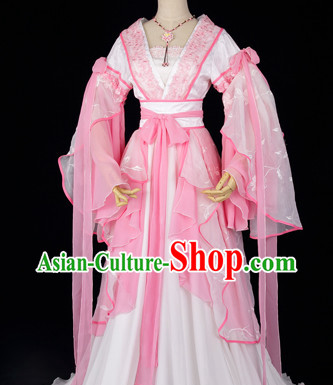 Ancient Chinese Pink Fairy Clothes and Necklace Complete Set