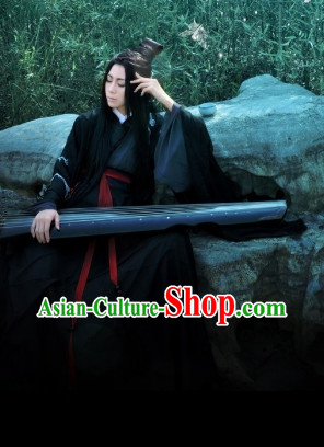 Ancient Chinese Plum Blossom Embroidered Black Poet Musician Clothes Complete Set
