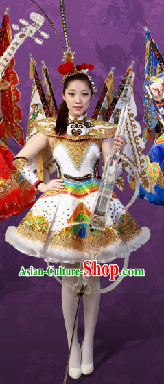 White Crystal Music Ensemble Stage Performance Peking Opera Style Costumes