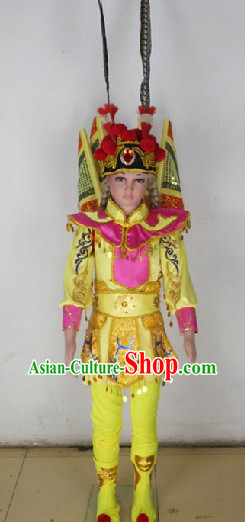 Chinese Peking Opera Stage Performance Costumes and Headwear for Kids