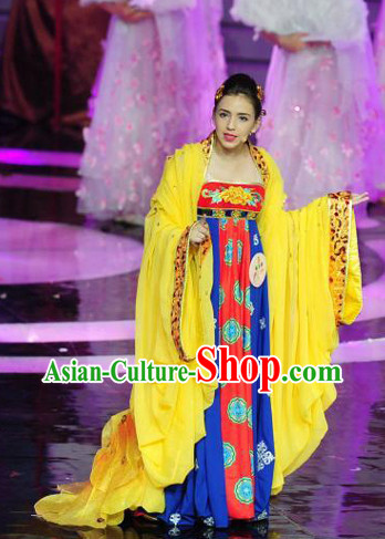 Yellow Tang Dynasty Empress Clothes Complete Set