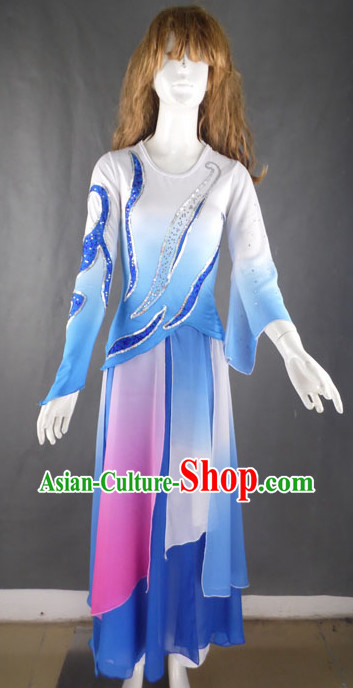 Professional Blue and White Stage Performance Dance Costumes for Women