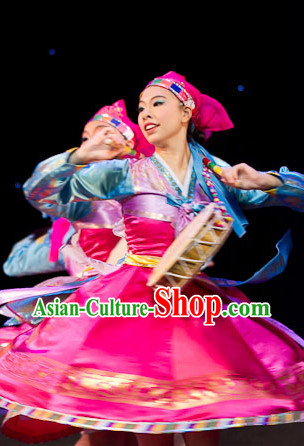 Traditional Korean Ethnic Dancing Dresses and Headdress