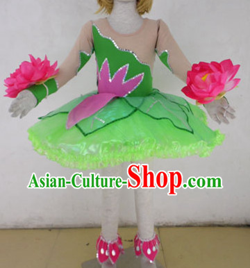 Traditional Lotus Dance Costumes and Headdress for Kids