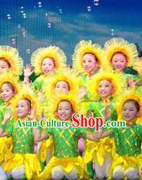 Traditional Sunflower Dance Costumes Complete Set for Kids