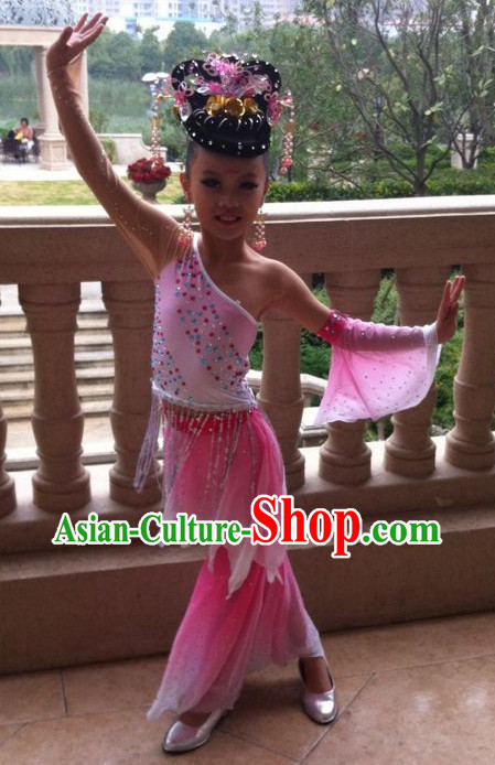School Students Classical Dancing Costumes and Headwear