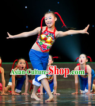 Primary School Students Folk Dancing Costumes for Kids