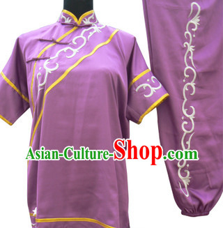Top Short Sleeves Silk Martial Arts Nanquan Southern Fist Competition Dresses